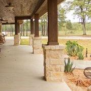 Cedar and limestone columns