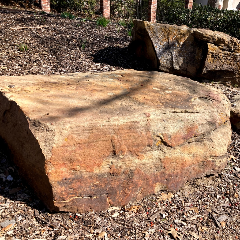 Limestone boulders for seating